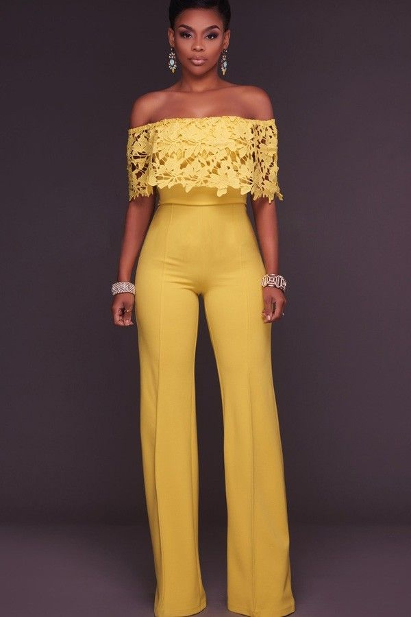 0e3dc4823b COM Yellow Off Shoulder Lace Crochet Wide Leg Sexy Jumpsuit   Sexy Rompers  And Jumpsuits For Women-Strapless Jumpsuit