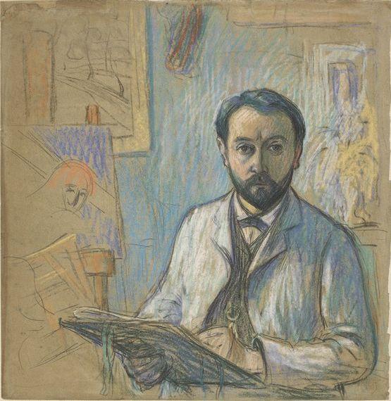 Émile Schuffenecker (1851-1934),  amico di Paul Gauguin - Autoritratto nel suo laboratorio intento a disegnare - disegno pastello e matita nera su carta grigia - 1889 - Musée d'Orsay, Parigi
