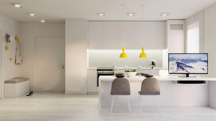 Minimalistyczna kuchnia w bieli. Minimalist white kitchen.