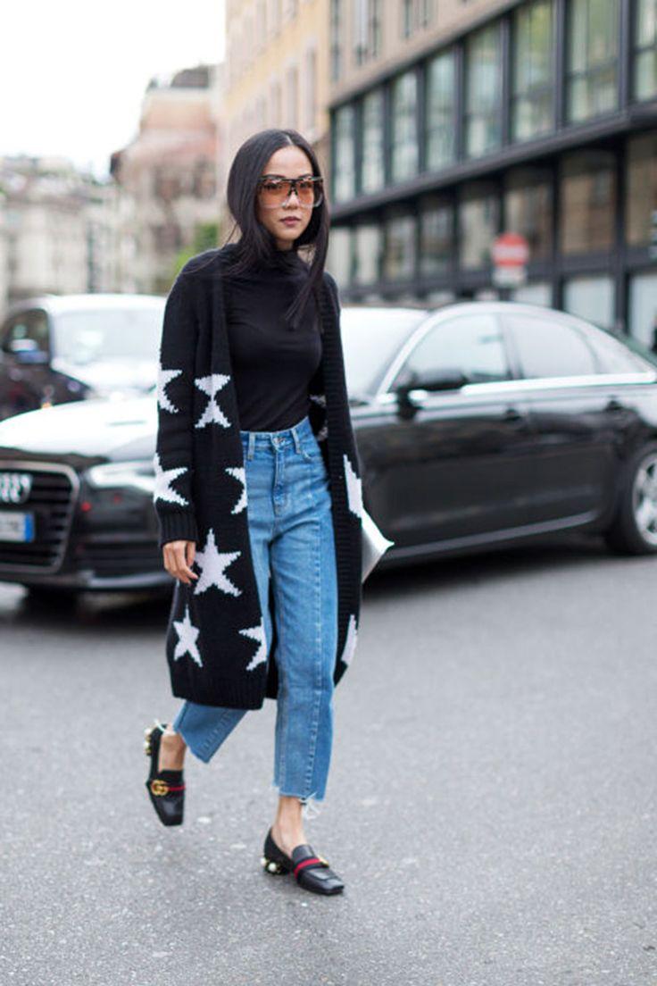 star-print-cardigan-fraye-denim-gucci-loafers-turtleneck-milan-fashion-week-hbz