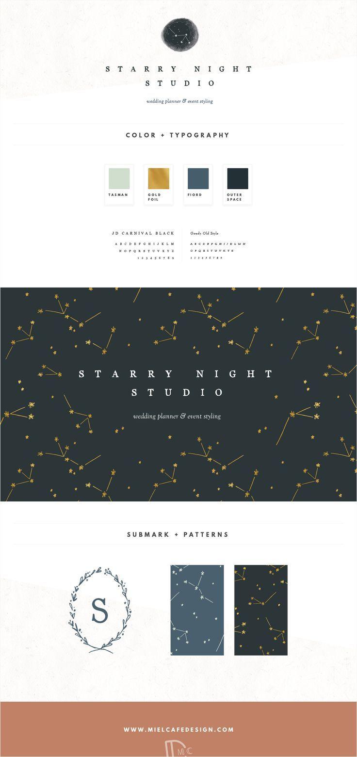 Branding for Starry Night Studio Wedding Planner Whimsical Constellation Brand Identity Custom Logo Design Pattern