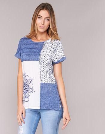 material Női Rövid ujjú pólók Desigual GRIZEL Kék / Fehér