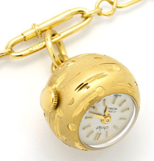 Foto 2, Gold-Kugel-Anhäger-Uhr Emaille-Goldkette Rar 18K Topuhr, U1558