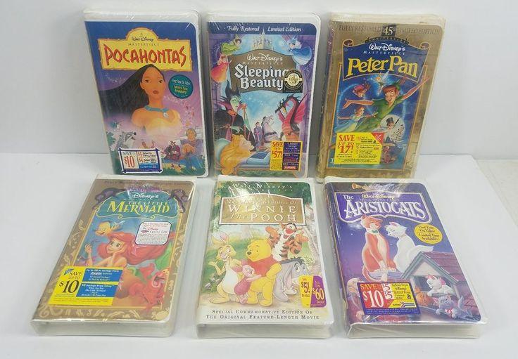 Walt Disney VHS 6 Movie Lot- New & Sealed - Winnie - Mermaid -Peter Pan - & More