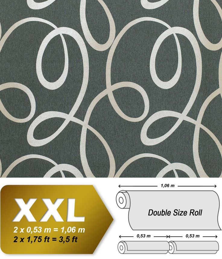 Vintage behang vliesbehang EDEM 694-96 met golven patroon bazalt-grijs zilver-wit   10,65 qm