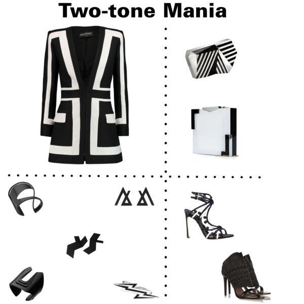 Two-tone Mania by marnella on Polyvore featuring Balmain, Tabitha Simmons, Sergio Rossi, The cARTel, Rafe and Design + Conquer