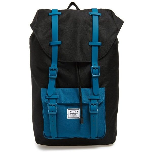 Herschel Supply Co. 'Little America - Mid Volume' Colorblock Backpack ($100) ❤ liked on Polyvore featuring bags, backpacks, pocket backpack, padded laptop backpack, black laptop backpack, black rucksack and black backpack