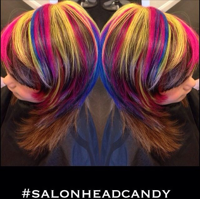 Rainbow hair color I had the pleasure of doing on the worlds cutest client ever! I used Manic Panic Electric Lizard, Hot Hot Pink & Rockabilly Blue by manic panic for this bright rainbow highlight dramatic awesomeness!!! By Robin Dorton Follow her on Instagram @headcandyrobin #headcandyrobin#salonheadcandy #manicpanic #brighthair #pinkhair #bluehair #rainbowhair