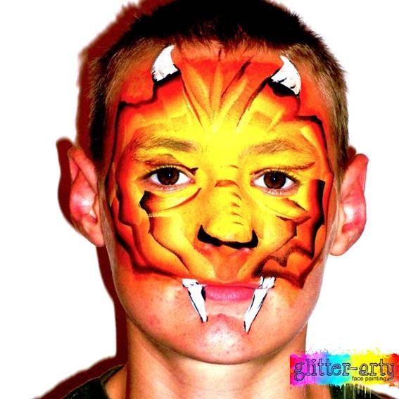 Dragon face painting for boys by Glitter-Arty Face painting Bedford Bedfordshire