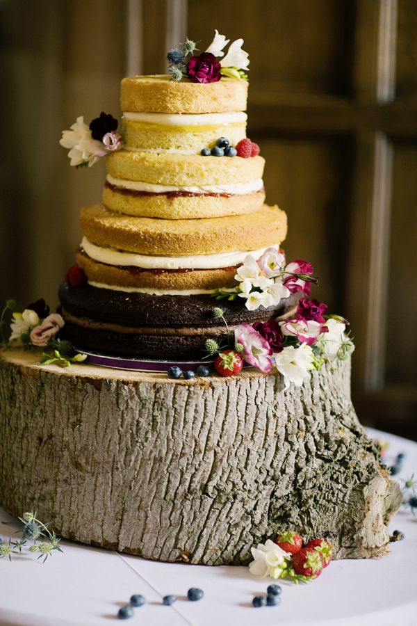 Natural Country Floral Wedding Naked Cake http://www.jobradbury.co.uk/