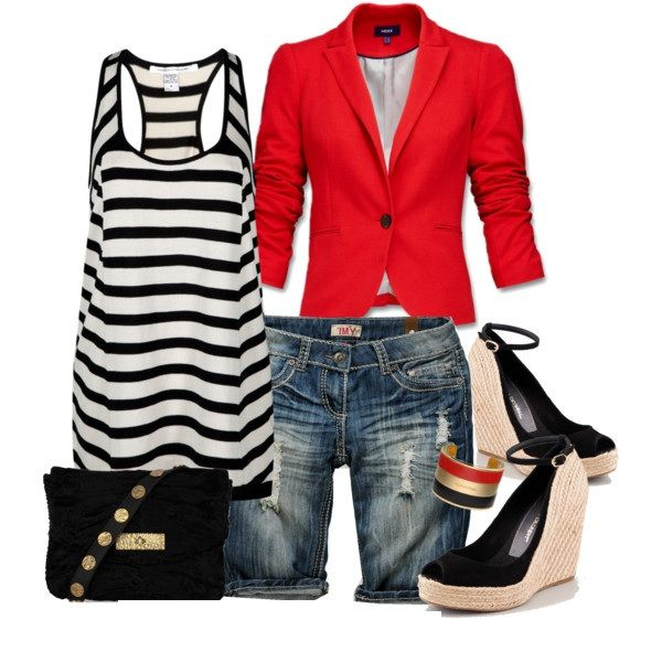 Casual Outfit: Ideas, Casual Chic, Summer Outfits, Blazers, Casual Looks, Casual Outfits, Jeans Shorts, Stripes, Black Suede