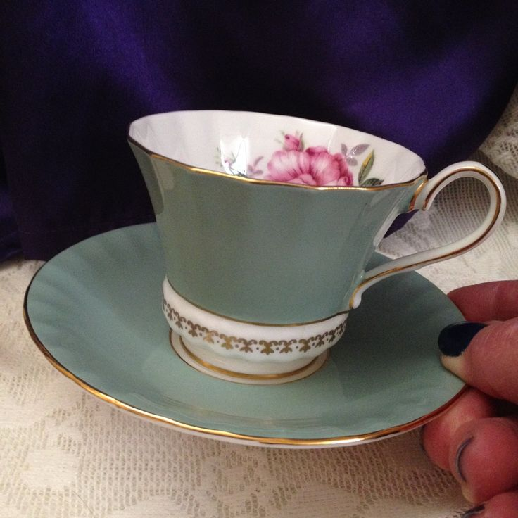 Aynsley Sage Green Teacup Saucer Paneled Corset Shape Gold Fleur de Lis Banding Rose Floral Inne & 166 best Collectible China and Dinnerware ~ Vintage and Antique ...
