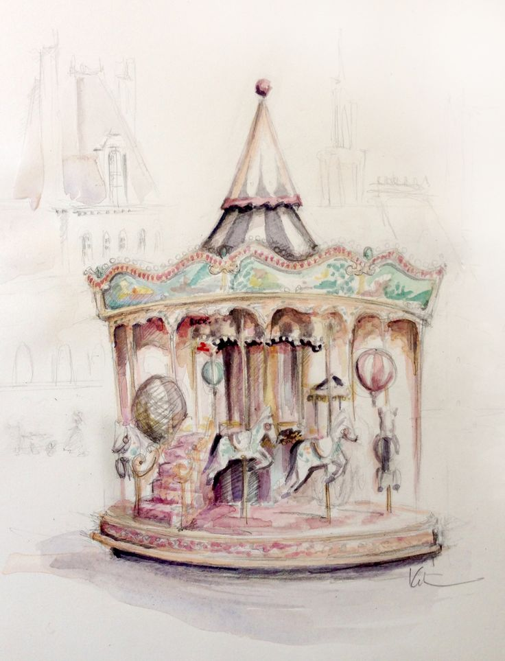 SPINNING ROUND AND ROUND carrousel illustration by Katie Rodgers
