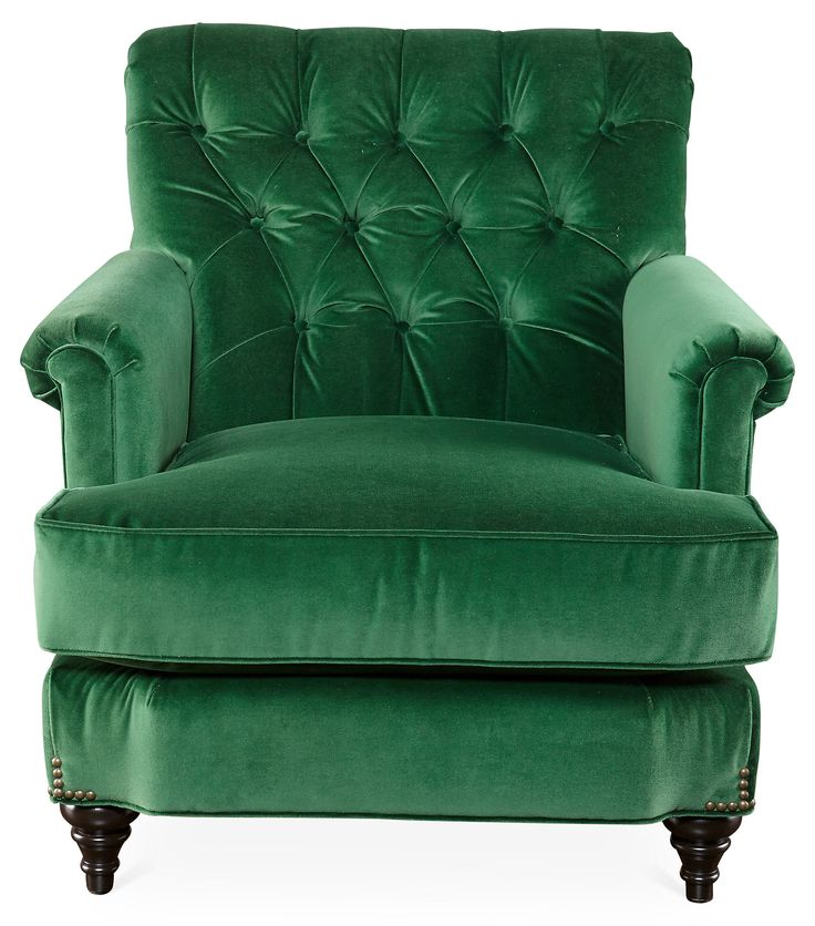 Acton Tufted Chair Emerald Green Velvet One Kings Lane