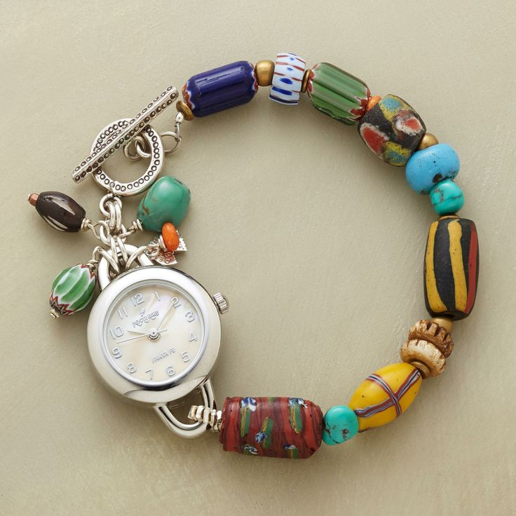 Silver Band Bracelet: TRADE BEAD WATCH -- Vintage African Trade Beads, Each
