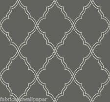 Candice Olson Wallpaper/ Charcoal Grey Lattice Trellis Textured Wallpaper/CX1227
