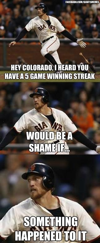 haha the Giants completed the sweep today!