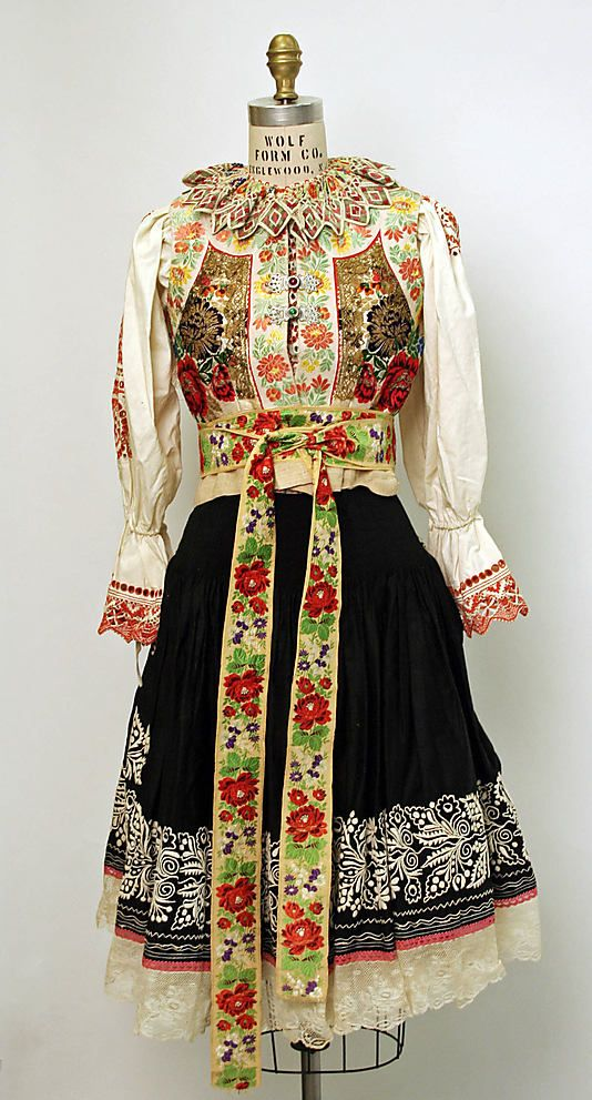 Ensemble.  Date: 20th century. Culture: Slovak. Medium: (a, b, c, e, f) cotton; (d) silk.