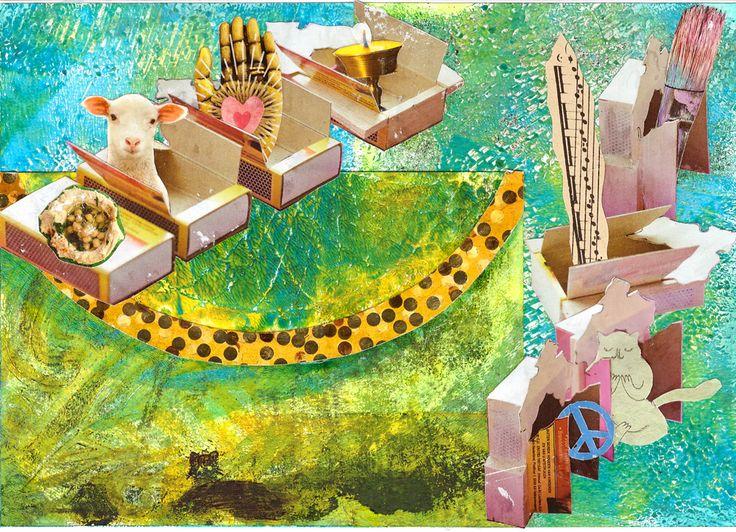 mixed media 107 gelli plate, sjabloon, collage, marker ik wens je een huis gevuld met vrede, rust, muziek, creativiteit, liefde, licht, zachtheid en lekkers!