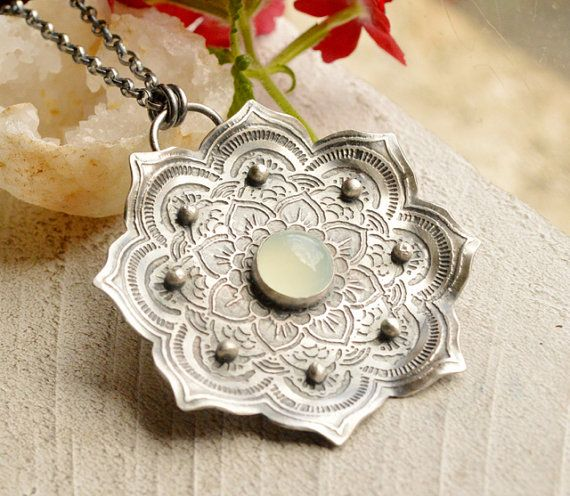 Silver Lotus Pendant Necklace with Etched Pattern by EONDesign