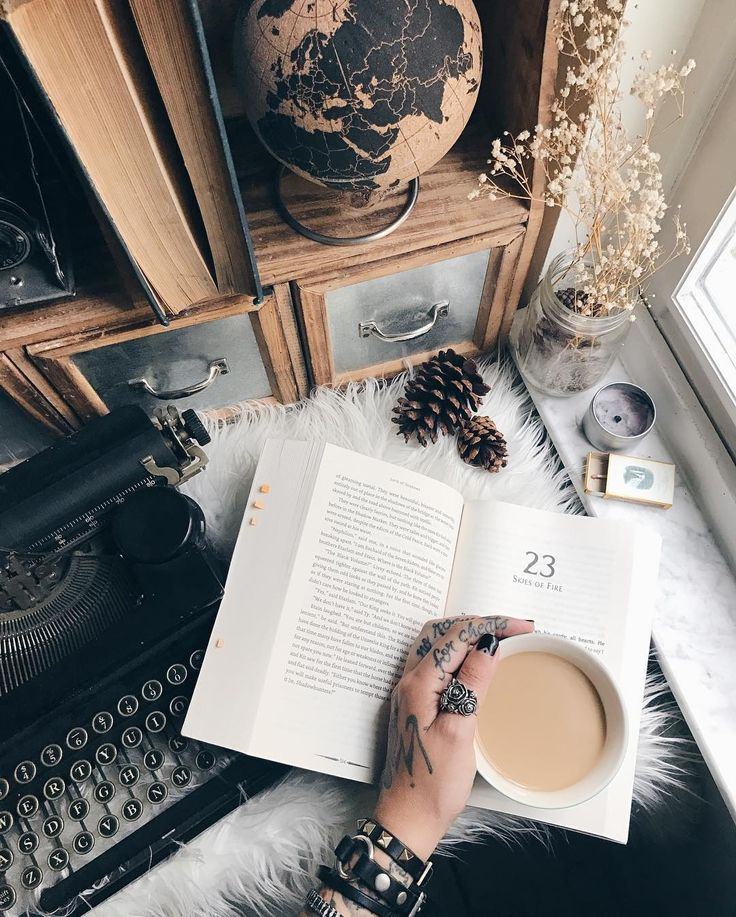 Bookstagram - open book, cup of coffee