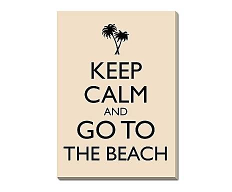 I COLORI DELL'OCEANO: stampa da parete in tela e pino Go to The Beach Beige - 50x70 cm