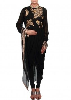 Black suit featuring with zardosi and cowl drape only on Kalki