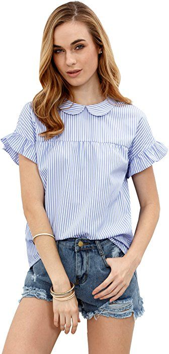 2e1e955bbf SheIn Women's Cute Striped Peter Pan Collar Short Sleeve Babydoll Blouse Top  Small Blue at Amazon Women's Clothing store: