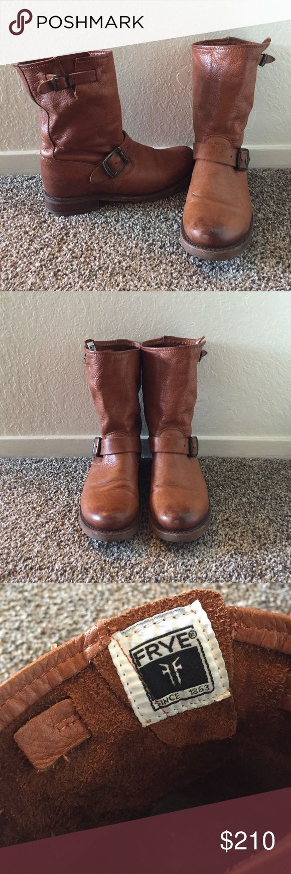 Frye Veronica short boots Beautiful leather Frye Veronica short boots in cognac. These boots are extremely comfortable and in great condition. Only worn a few times for short periods. These boots look great with jeans, skirts, and dresses. These do not come with original box. Frye Shoes