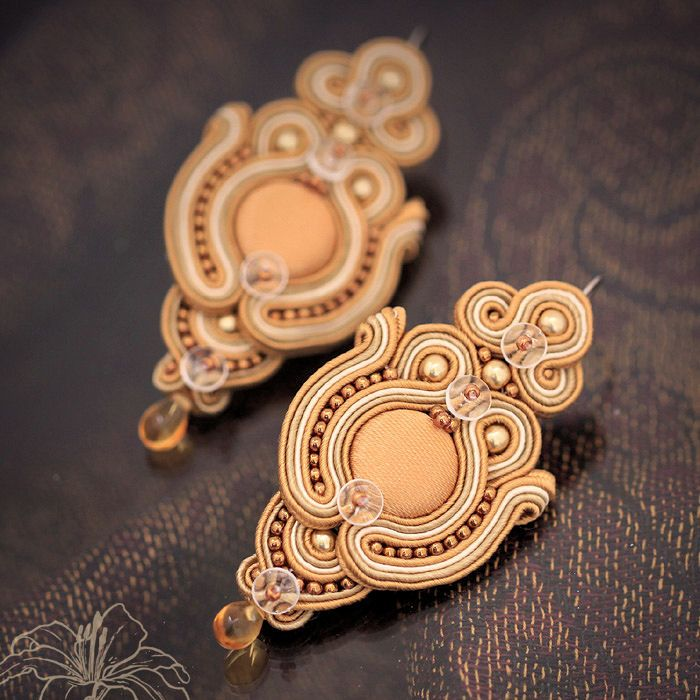 Soutache earrings Caramel   author: Zuzana Hampelova Valesova (Lillian Bann)   www.z-art-eshop.cz   http://www.facebook.com/pages/Z-ART/539656212733510