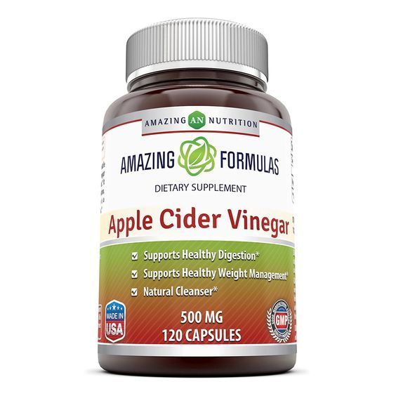 Amazing Nutrition Amazing Formulas Apple Cider Vinegar Dietary Supplement - 500mg - 120 Capsules - Supports Healthy Digestion and Weight Management - Promotes Better Circulation >>> Insider's special review you can't miss. Read more  : Herbal Supplements