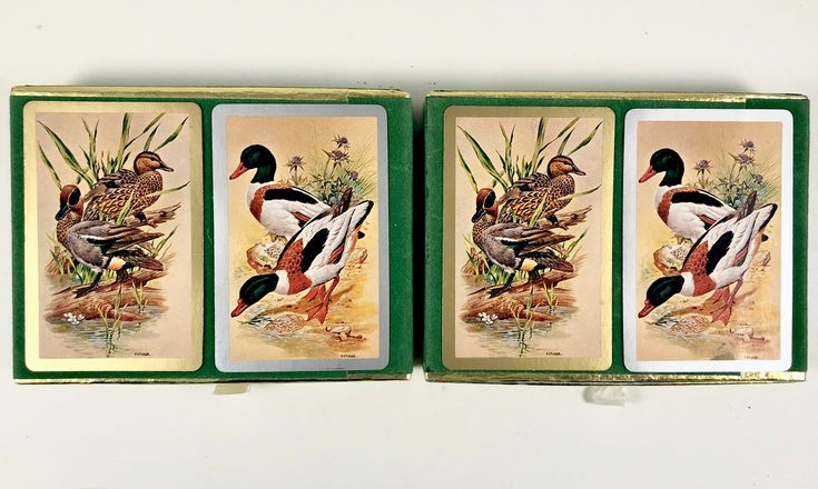 Playing Cards, 4 Pinochle Decks, Vintage, Boxed, Sealed Decks, Congress Pinochle, Mallard Ducks, Zippo Lighter, U.S. Playing Card Company, by BarnabyGlenVintage on Etsy