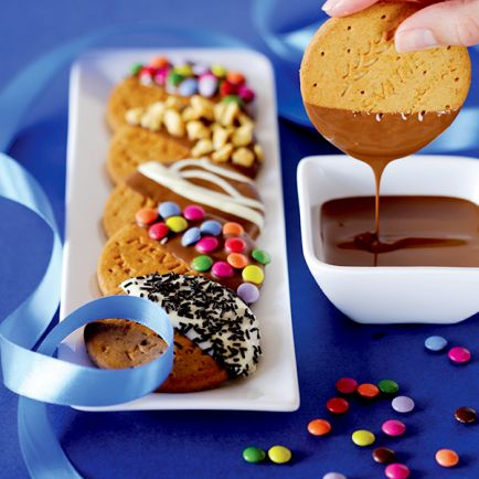 Chocolate fondue with McVitie's Digestives