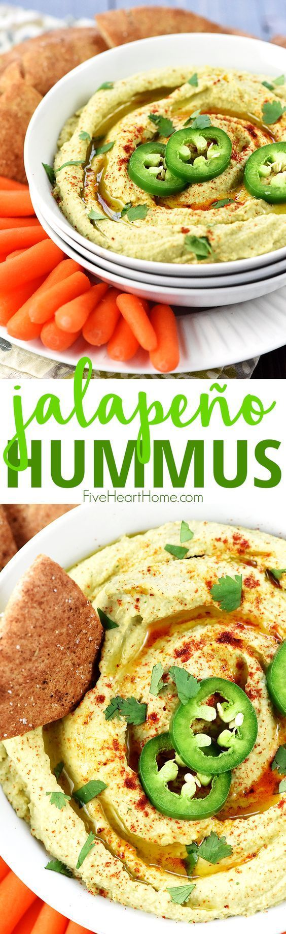 Jalapeño Hummus ~ classic hummus gets a zippy kick in this healthy, flavorful, quick and easy dip for pita wedges or your favorite raw veggies!   FiveHeartHome.com #jalapeno #hummus #healthy #healthyrecipes #appetizer #dips #recipe #fivehearthome