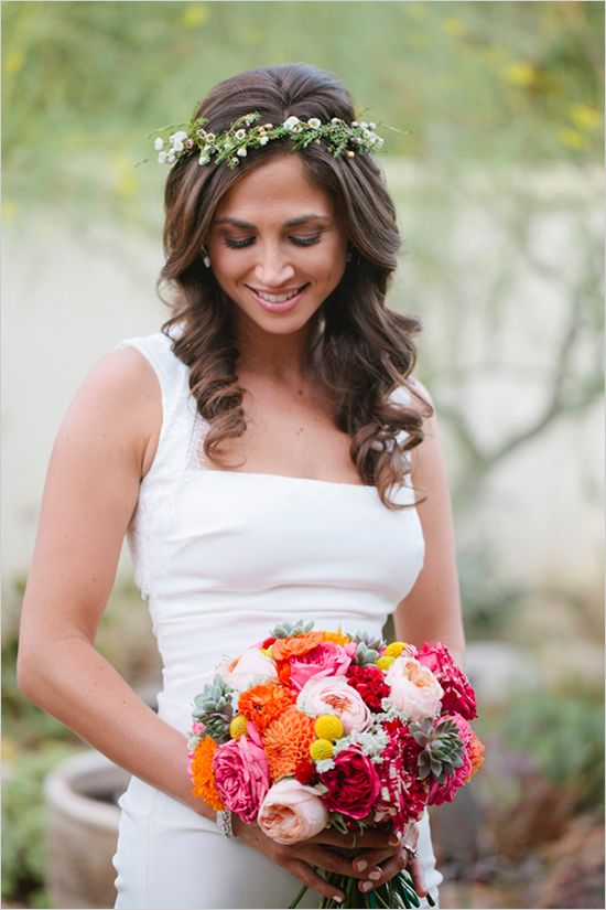 Simple white sheath dress, Great alternative to veil: Floral Bridal Headpiece