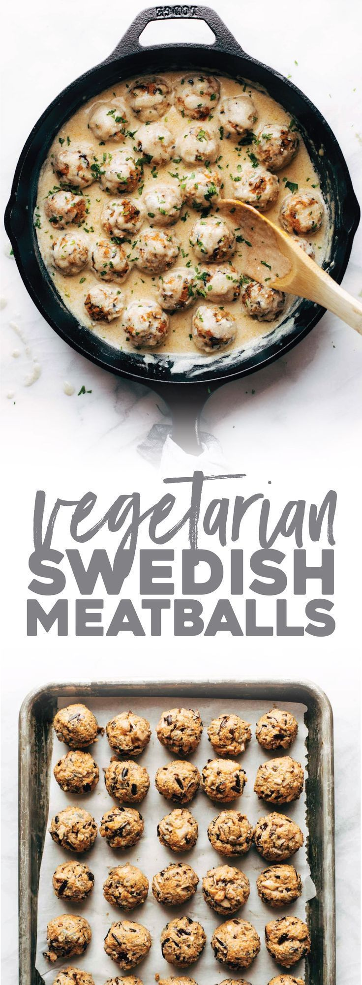 Vegetarian Swedish Meatballs are FOR REAL! ♡ Meatballs made with wild rice and mushrooms, served in a homemade gravy. #vegetarian #meatless #swedish #meatballs #healthyeating #recipe | pinchofyum.com