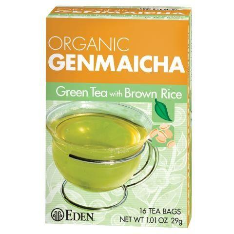 Genmaicha Tea, Organic. Early spring green tea leaves, organic sencha, with roasted organic short grain brown rice. 16 Tea Bags/Box. #EdenFoods