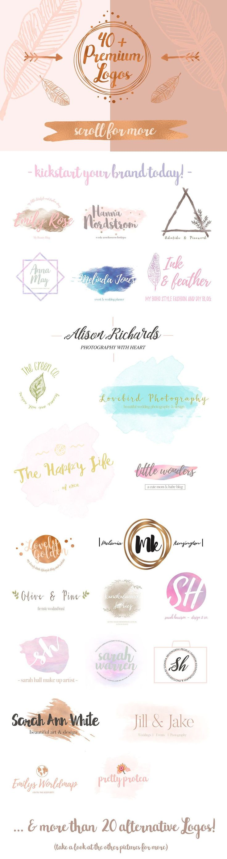 Pretty Premade Branding & Logo Kit by Laras Wonderland on @creativemarket Creative logo design inspiration, perfect for a modern business branding with perfect font and typography selection. Take some ideas or use this feminine, elegant, nature, floral and also hipster set.