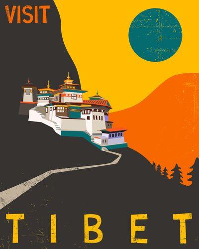 Tibet Travel Poster Art Print by Jazzberry Blue