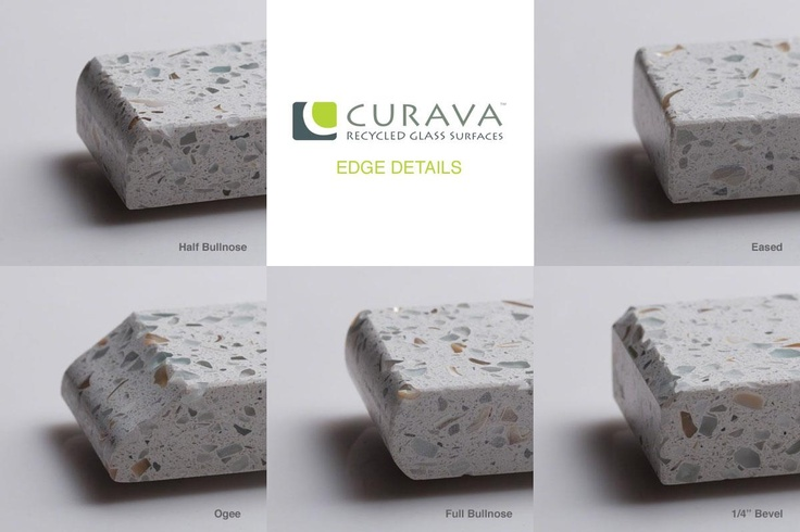 Five available edge details from curava recycled glass for Curava countertops