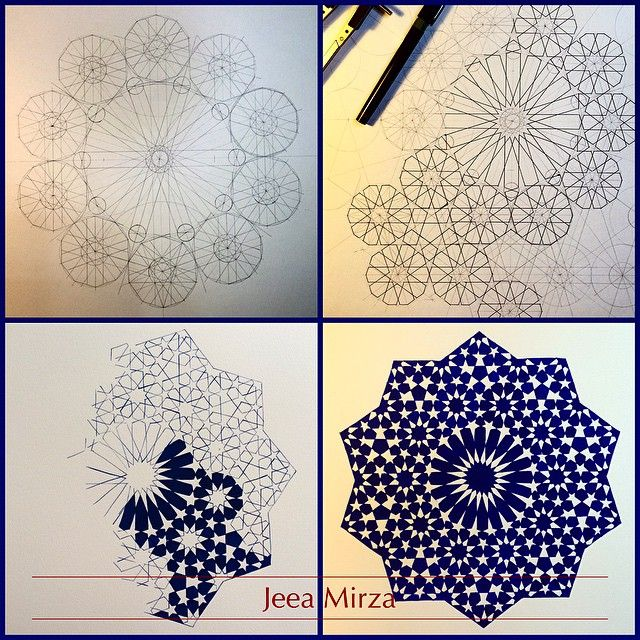"479 Likes, 38 Comments - Jeea Mirza (@jeeamirza) on Instagram: ""A little step by step to show the various stages.... #islamicart #islamicartwork #islamicdesign…"""