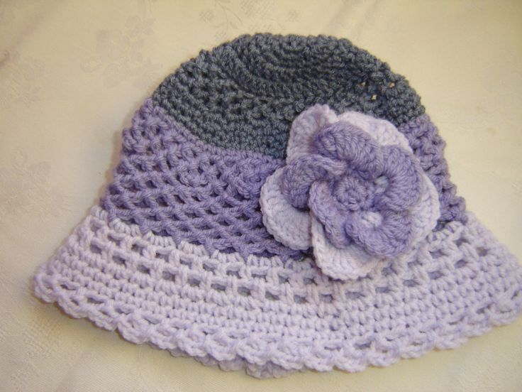 Crochet Girls Hat with Flower by VoulaCrochet on Etsy