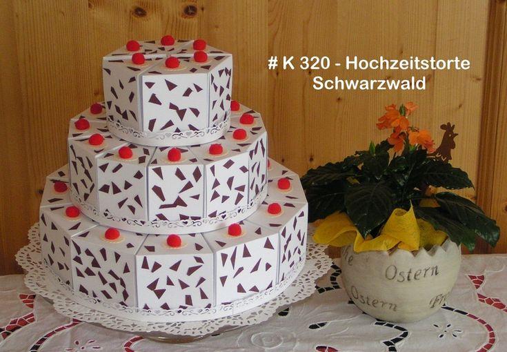 Gastgeschenke - Hochzeitstorte Schwarzwald (K 320) - 3 stöckig - ein Designerstück von Bastelkoenigin-de bei DaWanda