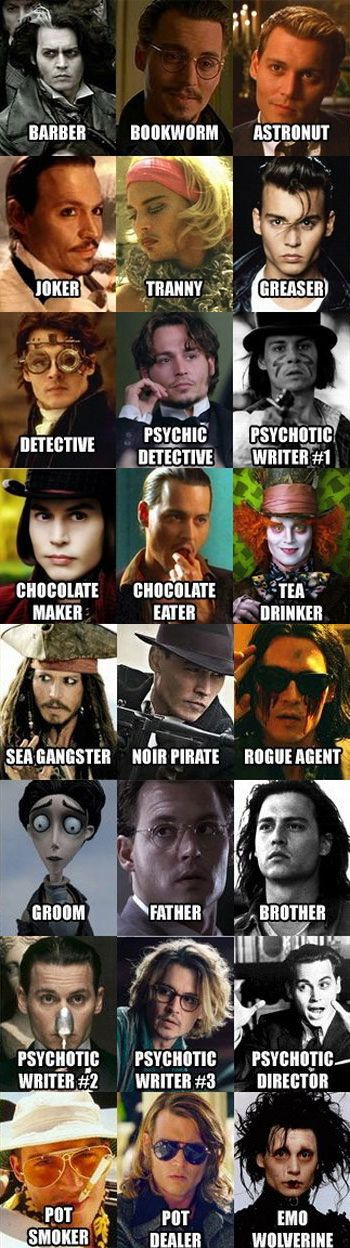 Who knows the others? I know sweeny todd, capt. Jack, willy wonka, chocolat, cry baby, Gilbert grape, edward scissorhands, secret window, Dr. Parnassus, sleepy hollow, corpse bride, John Dillinger, & J. M. Barry.