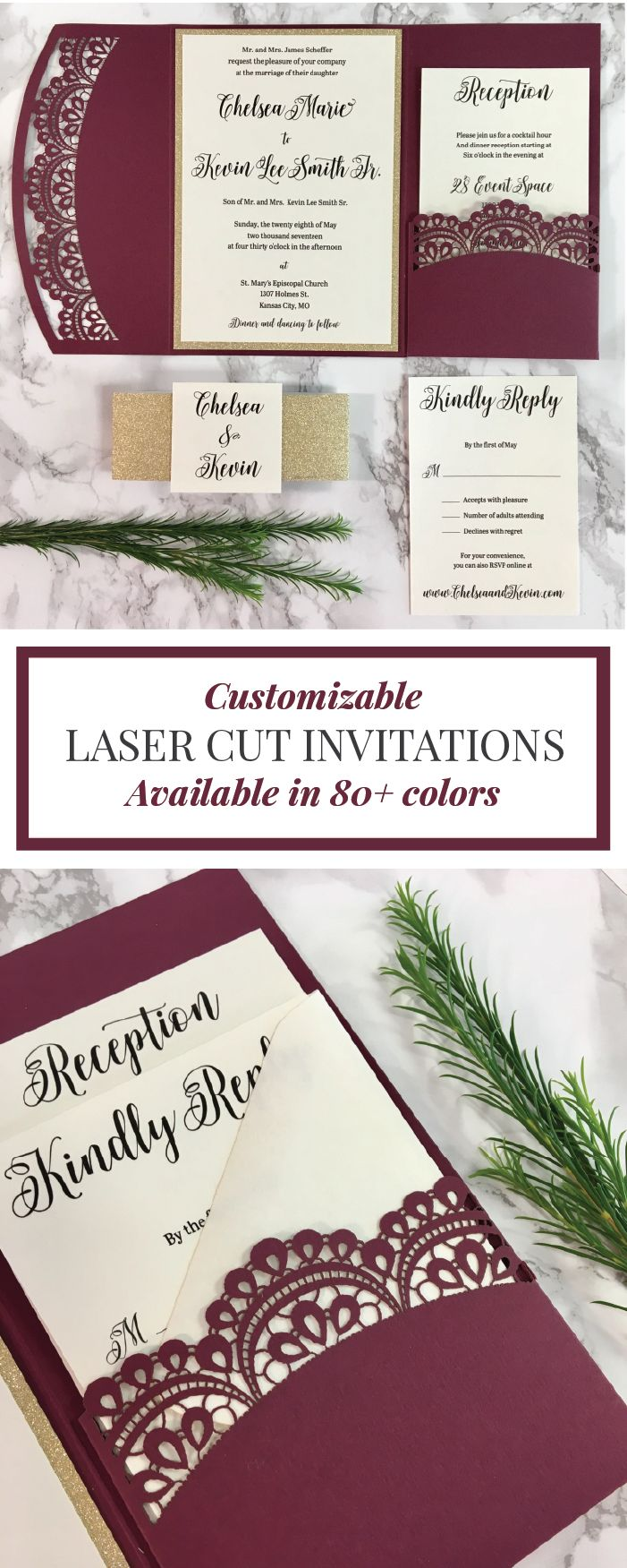 Click to order your totally custom Burgundy Laser Cut Wedding Invitations! These elegant invites are available with Gold, Silver and Rose Gold glitter or Mirror paper accents!