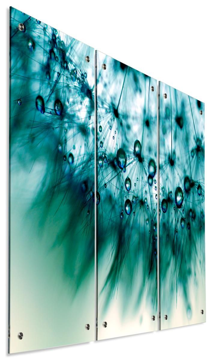 "(3) 15"" x 30"" Acrylic Wall Sign w/ UV Printed Water Droplets, 3 Panels, 12 Standoffs"