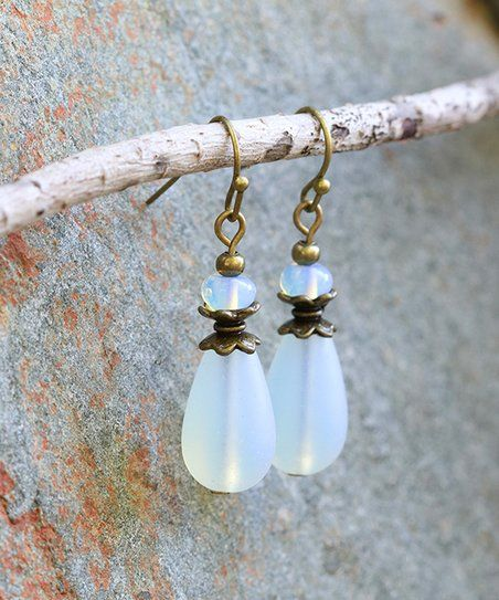Boho Treasures by Wise Creations  Moonstone Sea Glass Pear Drop Earrings | zulily