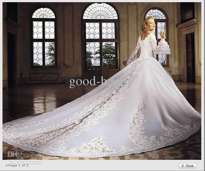 hot sell cathedral train bridal gowns square long sleeve embroidery fitn flare wedding dresses 3