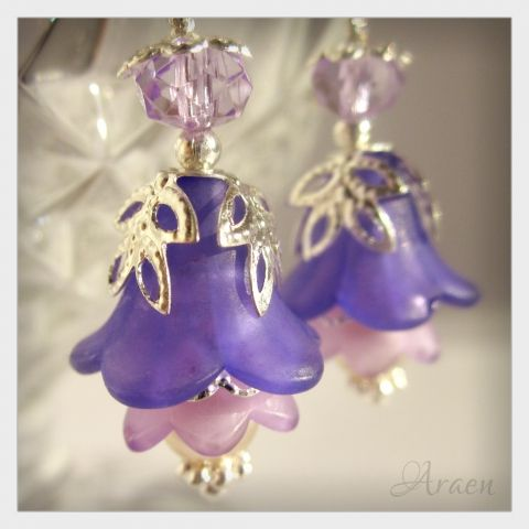 purple harebell earrings