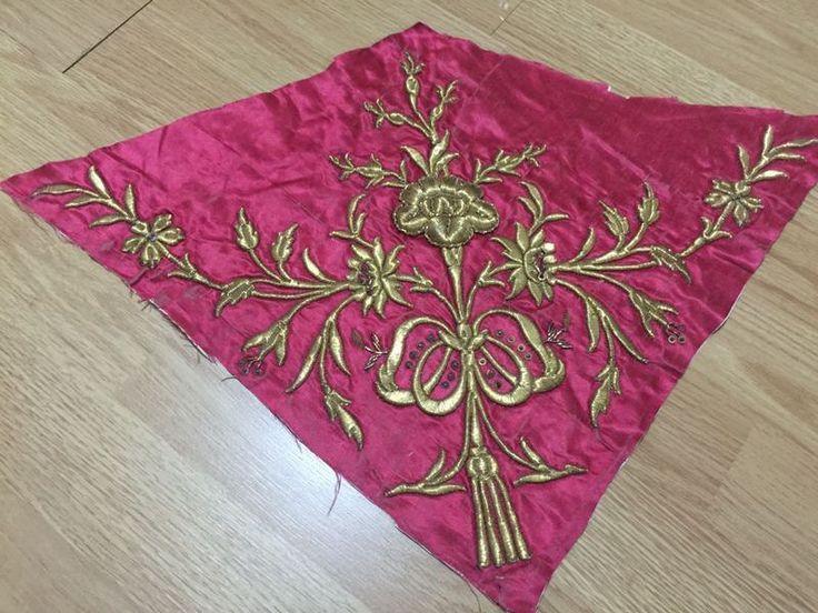 2 ottoman silk gold metallic bindallı parts 7
